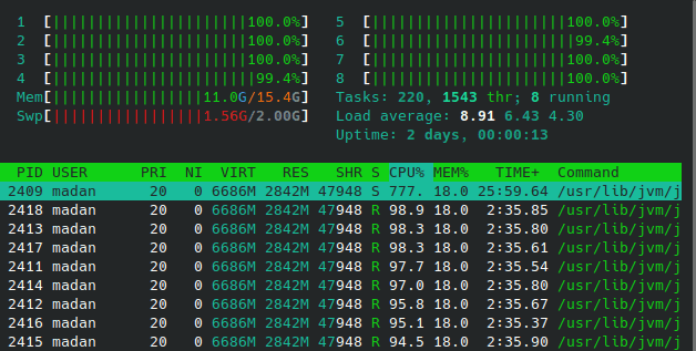htop stats when building native executable